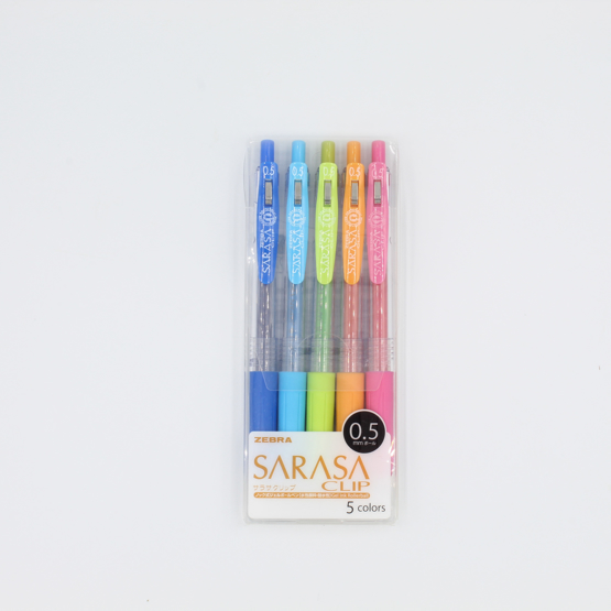 Zebra Sarasa Clip Gel Pen - 0.5 mm - 5 colours
