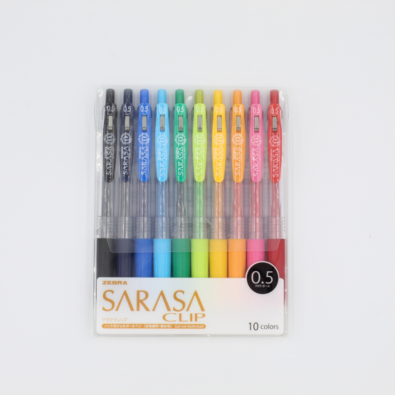 Zebra Sarasa Clip Gel Pen - 0.5 mm - 10 colours