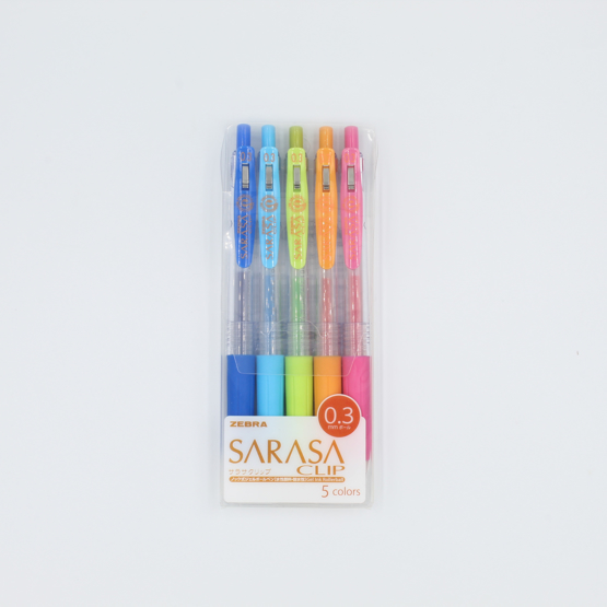 Zebra Sarasa Push Clip Gel Pen - 0.3 mm - 5