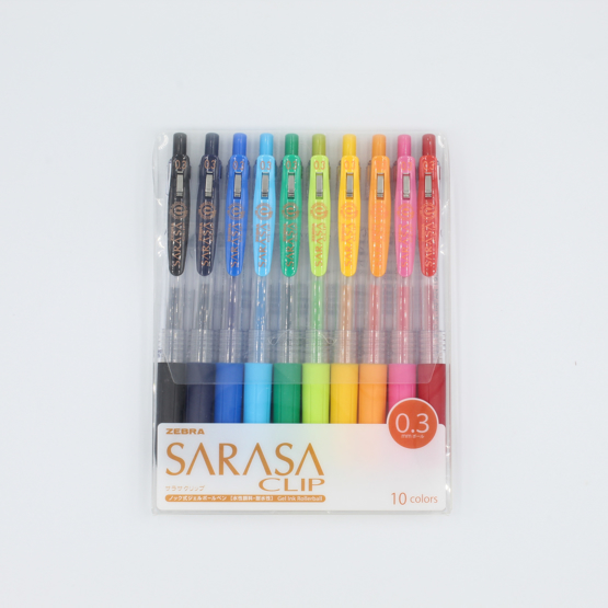 Zebra Sarasa Push Clip Gel Pen - 0.3 mm - 10