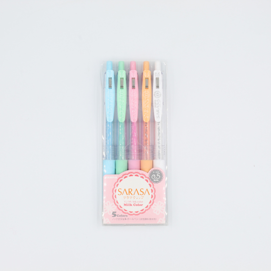 Zebra Sarasa Clip Milk Gel Pen - 0.5 mm - 5