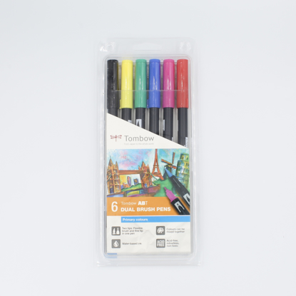 Brush Pens Tombow Dual - Conjunto 6 Cores Primárias