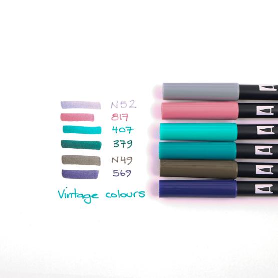 Brush Pens Tombow Dual - Conjunto 6 Vintage